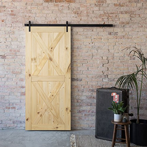 BELLEZE 36 inches  x 84 inches DIY Sliding Barn Door Natural Wood Pine Unfinished Single Door Only Pre Drilled (3 feet  X 7 feet), Double X