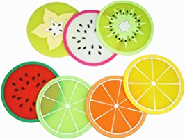 LuckyStar365 7-Piece Non-Slip Silicone Fruit Drink Coasters