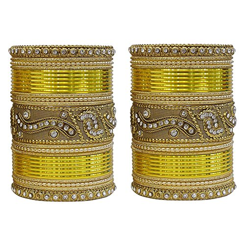 MUCH-MORE Authentic Multi Color Bangles Set of 54 Pieces Traditional Partywear Jewelry for Womens & Gilrs (Yellow, 2.8) Bangle Yellow Jewelry Set