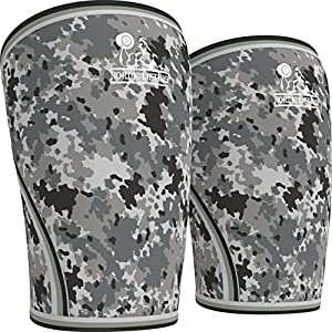 Knee Sleeves (1 Pair) Support & Compression for the Best Squats, 7mm Neoprene - by Nordic Lifting (Camo Grey, XXL)