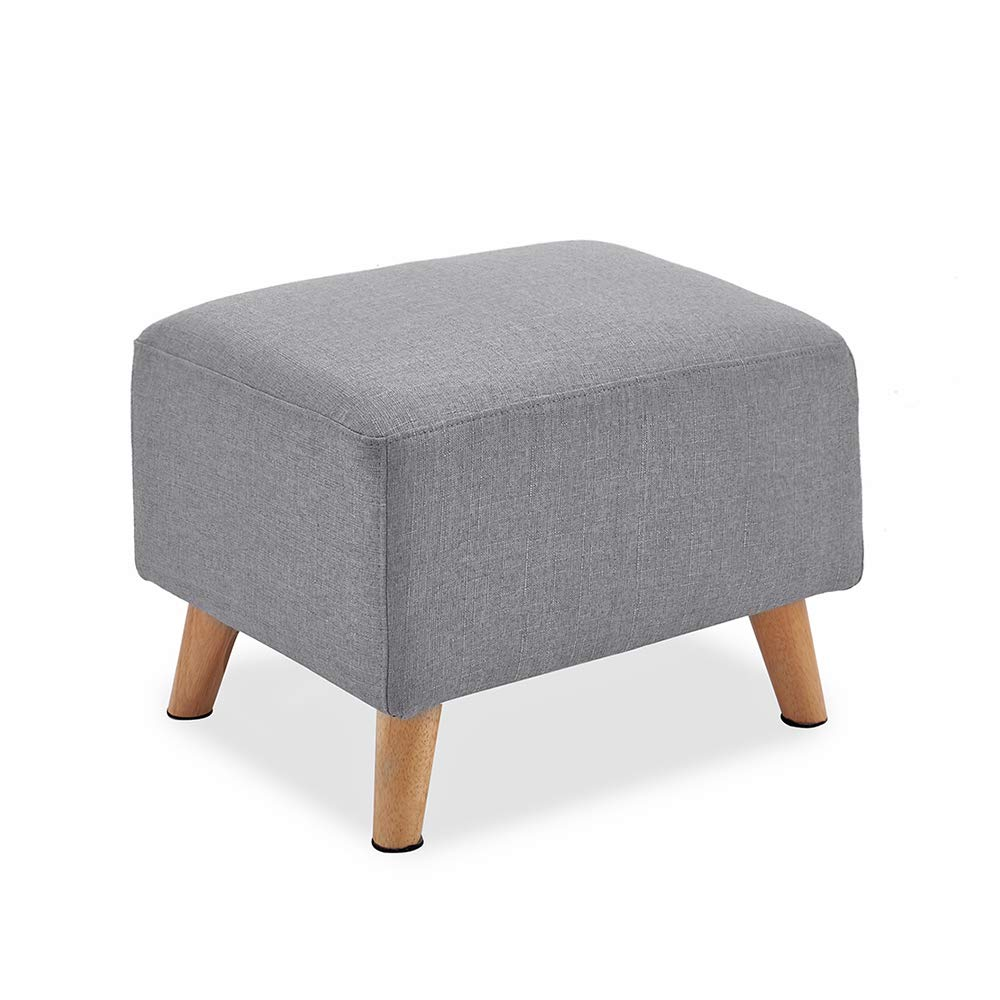 Sofatbed Modern Linen Fabric Occasional Accent Tub Chair Armchair with Footstool Ottoman Dark Grey