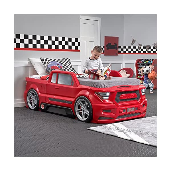 Step2 Turbocharged Twin Truck Kids Bed, Red 2