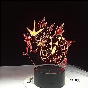 Dinosaurio Dragón Cuerno Luz 3D USB LED Color Noche Luz Animal ...