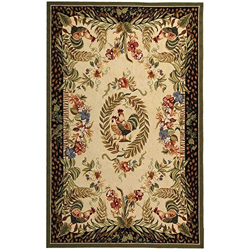 Safavieh Chelsea Collection HK92A Hand-Hooked Cream and Black Premium Wool Area Rug (5'3