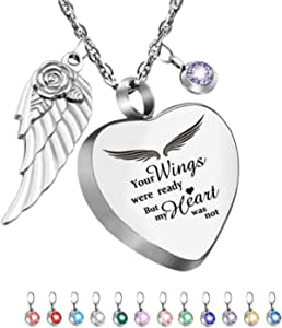 Dletay Heart Urn Necklace for Ashes with 12 Birthstones Cremation Jewelry for Ashes Memorial Ashes Keepsakes