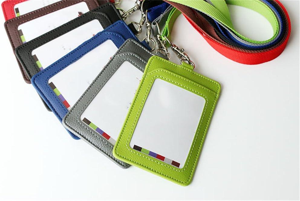 Porta badge verticale in pelle PU con cinturino rimovibile in nylon 11.2*7.5cm grigio Kentop