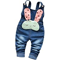 KIDSCOOL SPACE Baby Denim Overalls,3D Cute Cartoon Knitted Jean Dungarees