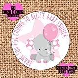 24 x Personalised baby shower stickers thank you for coming grey elephant sitting pink balloon