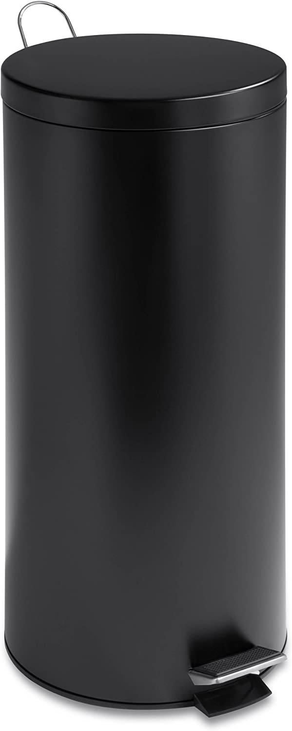 Honey-Can-Do TRS-02111 Round Stainless Steel Step Trash Can with Liner, Black, 30-Liter Per 8-Gallon