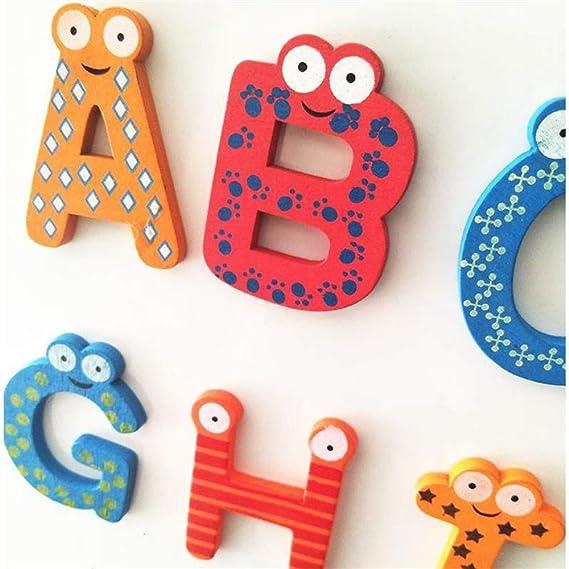 Aofocy Kinderspielzeugbunter h/ölzer K/ühlstuhlmagnet Alphabet A-Z Buchstaben 26St