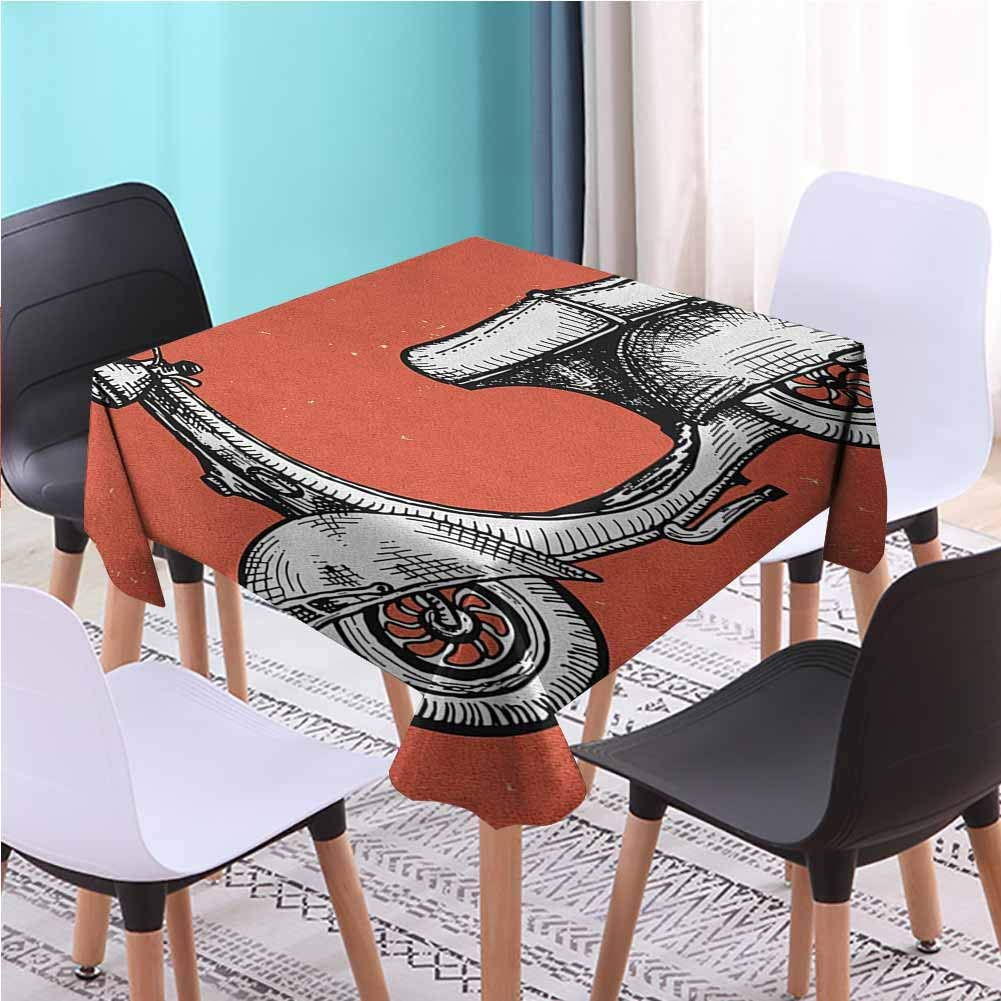 Zara Henry Design Vintage Farm Square Table Cloth, Retro Scooter Sign for Bike Bicycle Rent Classic Grunge Illustration Artwork Red Black White Printed Tablecloths, 70x70 Inch by Zara Henry Design