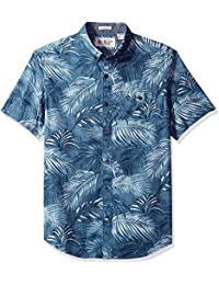 Original Penguin Men's Short Sleeve Fern Printed Poplin