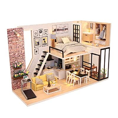 Kisoy Romantic and Cute Dollhouse Miniature DIY House Kit Creative Room for Friends, Lovers and Families (Happiness) with Dust Proof Cover: Toys & Games