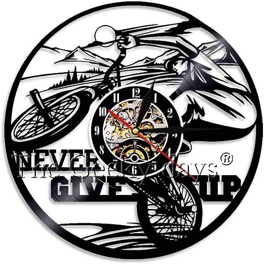 CQAZX Sport Theme Reloj de Pared Diseño Moderno Bicicleta de montaña Bicicleta Disco de Vinilo Relojes de Pared Idea de Regalo Hecho a Mano para Ella él: Amazon.es: Hogar