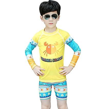 YuFLangel Traje de baño para niños Niño Traje de baño Dividido Playa  Protector Solar Traje de 29f3ab6f915