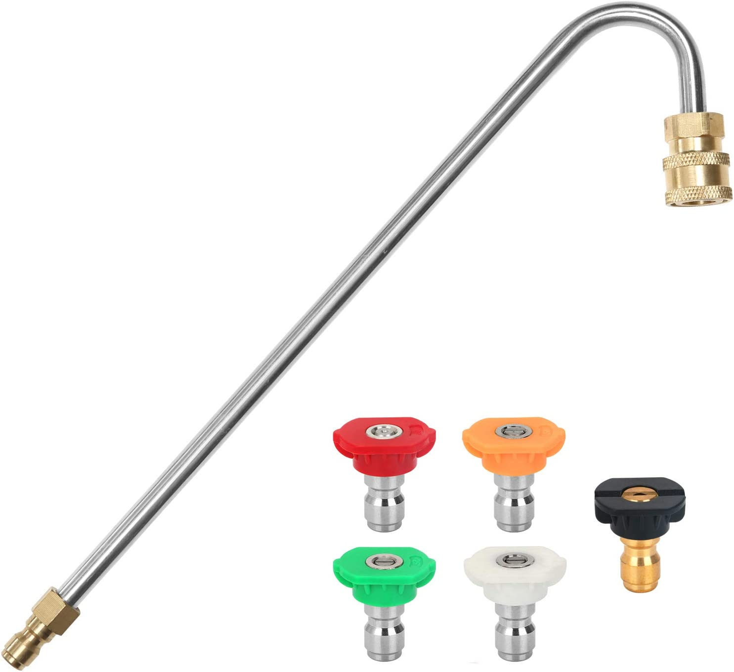 """Gutter Cleaner Attachment For Pressure Washer W// 4 Nozzles Tips 1//4/"""" Accessory"""