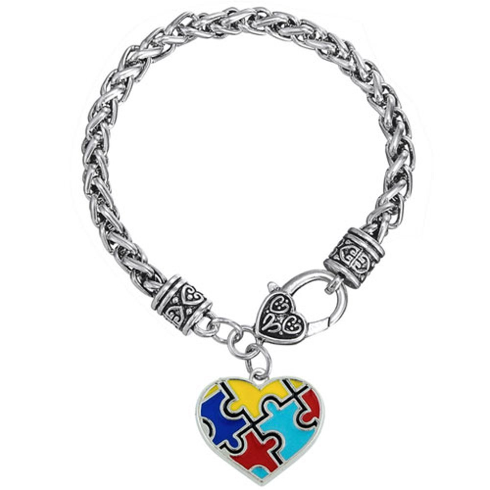LovelyJewelry Heart Autism Awareness Puzzle Jigsaw Charm Bracelet UPA_BR_HSJ558