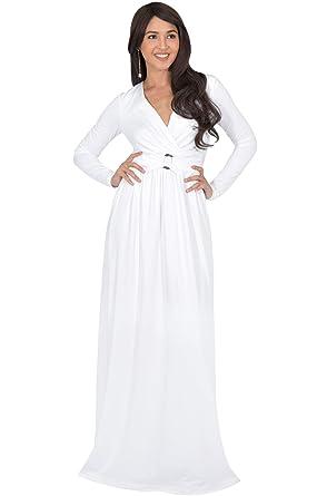 75437ffc62dd6 KOH KOH Womens Long Sleeve V-Neck Floor Length Elegant Wrap Waist Maxi Dress  at Amazon Women's Clothing store: