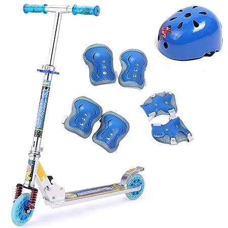 WYQ Scooter Plegable para niños con Equipo y Casco de ...
