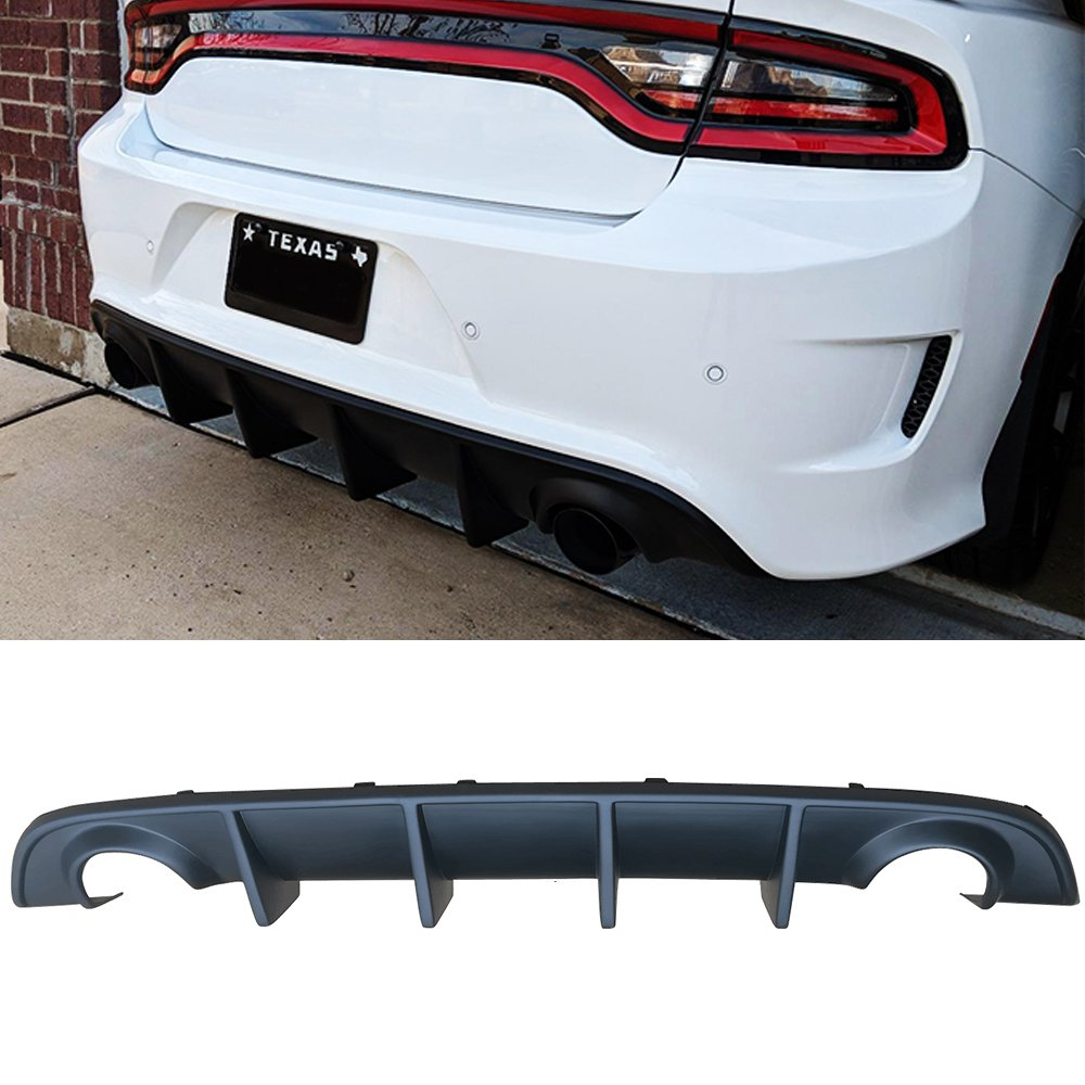 OE Style PP Splitter Spoiler Valance Chin Diffuser Body kit by IKON MOTORSPORTS Rear Bumper Diffuser Fits 2015-2019 Dodge Charger SRT 2016 2017 2018