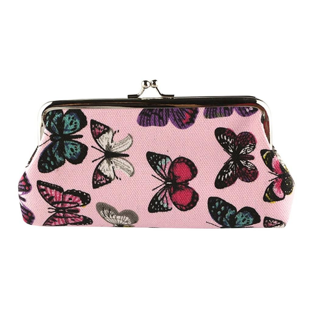 Wallet,toraway Lady Vintage Butterfly Mini Hasp Coin Purse Wallet Clutch Bag (Pink)
