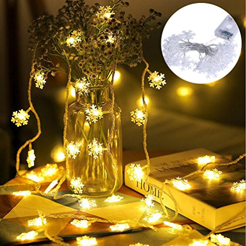 Led String Light, Christmas Lights, 16.5ft, 50LEDs Waterproof Starry Light for Christmas, Wedding, Party, Length=5 Meters (Warm White)