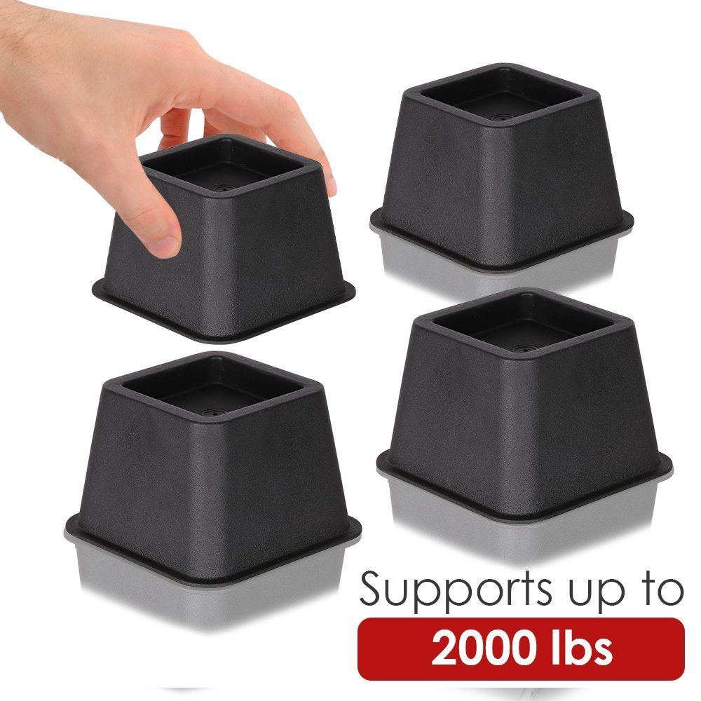 DuraCasa Bed Risers - Raises Your Bed or Furniture to Create an Additional 3 Inches of Storage! Reinforced New Heavy-Duty Design to Hold Over 2000 LBS! Desk, Sofa, and Chair Lift (Set of 4 Risers) by DuraCasa (Image #7)