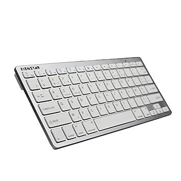 Zienstar - Teclado Bluetooth inalámbrico Ultra Delgada para Tablets Android, iPad, iPhone y Windows Tablet - AZERTY Layout (Blanco Plateado): Amazon.es: ...