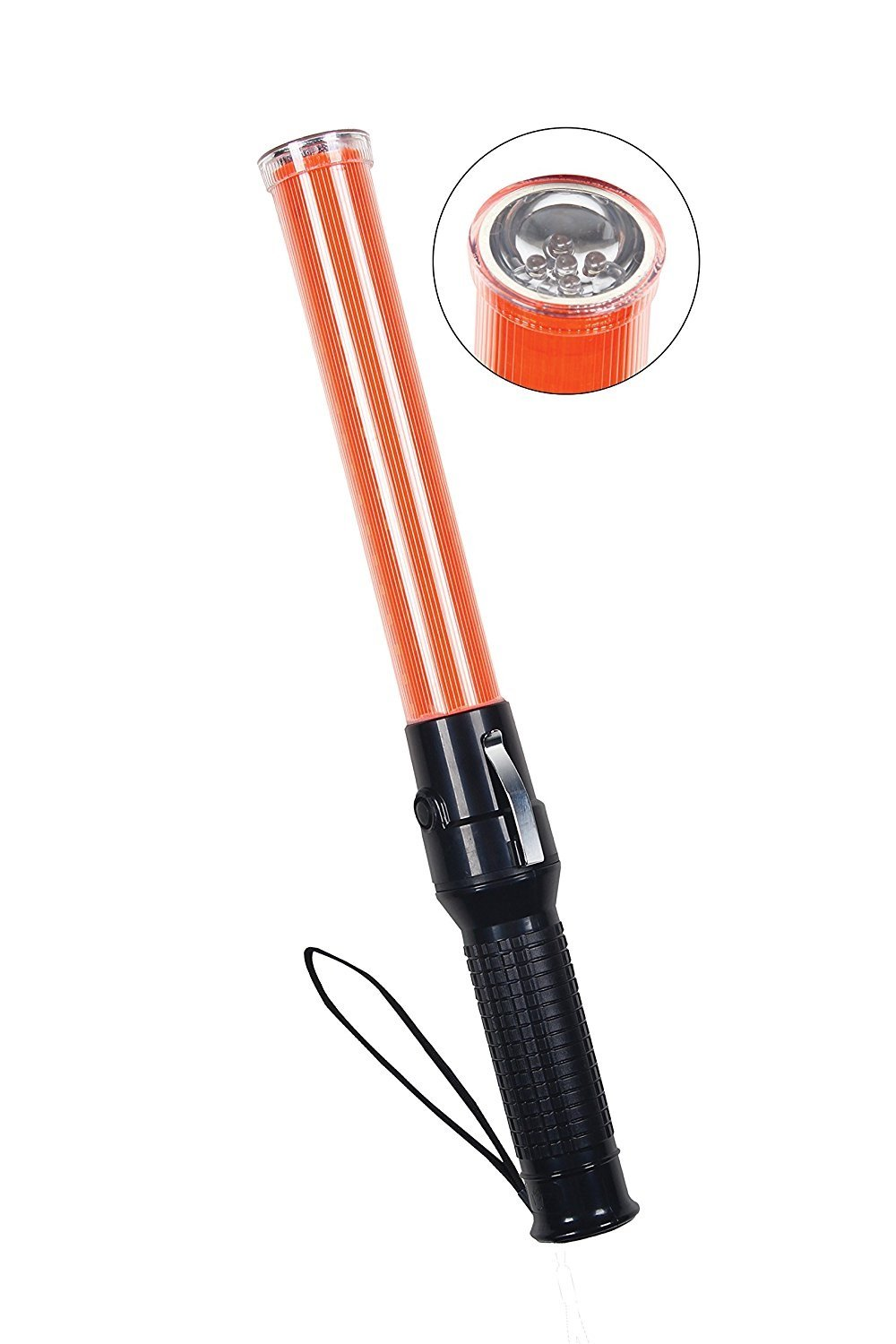 Safety Depot 17.5-inch 6-Red LED, Strong Magnetic Base with Enhance Grip Handle and Side Clip Used for Marshalling and Traffic Wands Set to Flashing, Steady or White 5-LED Flashlight Ba16