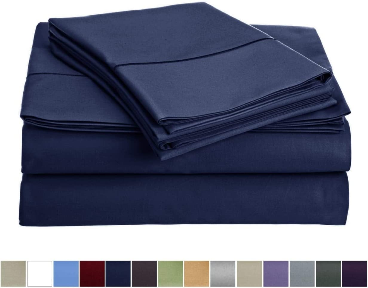"""RAVLEY HOME Queen Size 100% Egyptian Cotton 1000 Thread Count 6 Piece Bedding Set Extra Deep Pocket Upto 18"""" Extra Long Staple Smooth & Soft Sateen Weave (Navy)"""