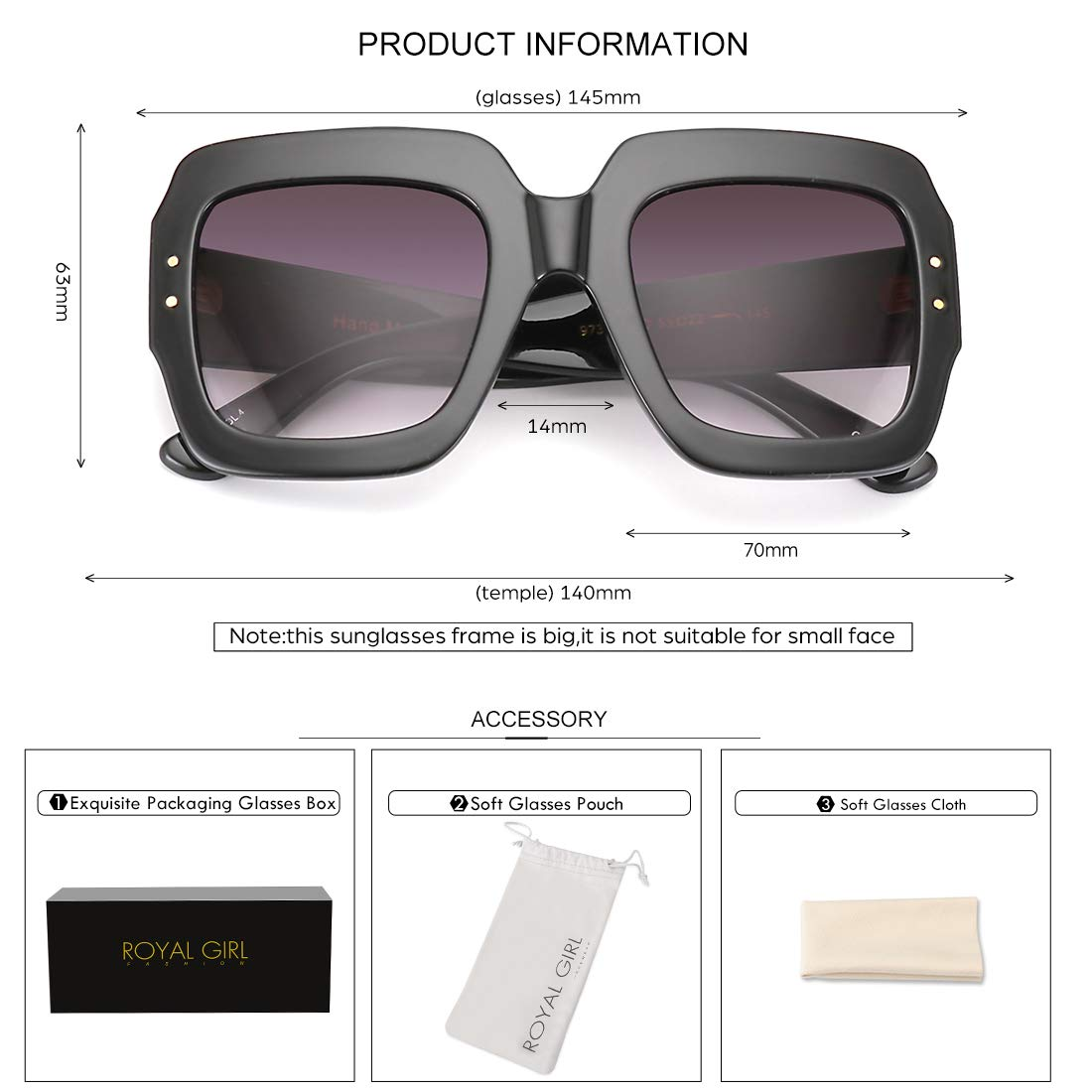 e43db3ba8f ROYAL GIRL Oversized Square Sunglasses Women Inspired Multi Tinted ...