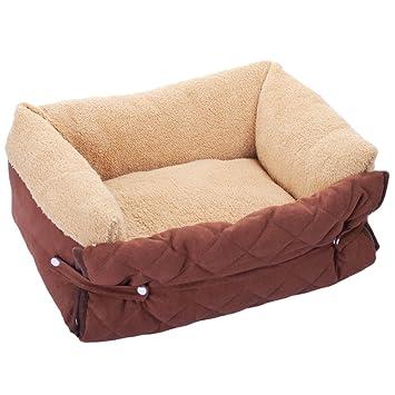 YuNo Cama Plegable para Perro, sofá de Tela de Felpa Ultra Suave para Mascotas, caseta de Gato, cojín Lavable: Amazon.es: Productos para mascotas