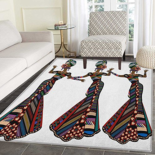 African Woman Area Rug Carpet Young Women in Stylish Native Costumes Carnival Festival Theme Dance Moves Customize door mats for home Mat 2'x3' Multicolor by smallbeefly