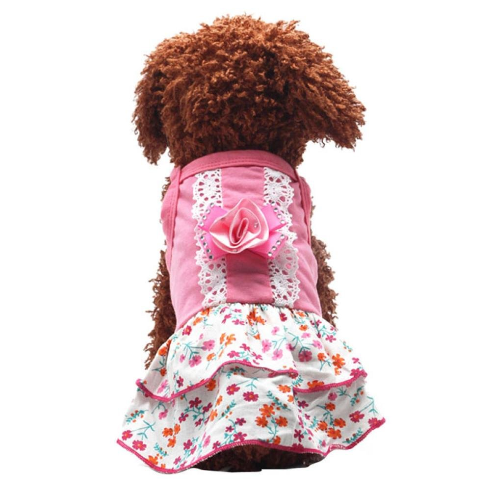 haoricu Puppy Clothes, Flower Skirts Crystal Bowknot Lace Floral Princess Dress (XS)