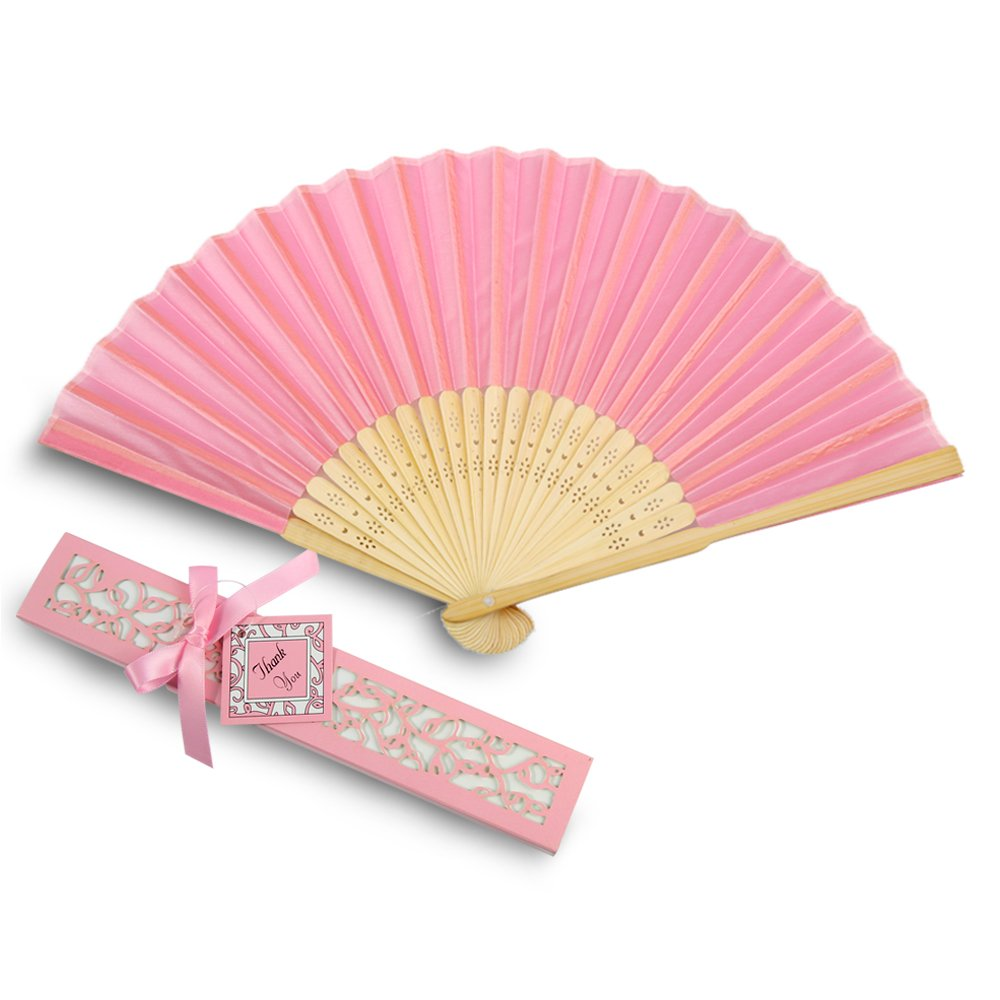 Doris Home 50pcs Pink Silk Bamboo Handheld Folded Fan Wedding Favor Fan with Laser Cut Gift Box for Bridal Gift Party Favors (Without Names),FAN01-50PA by Doris Home