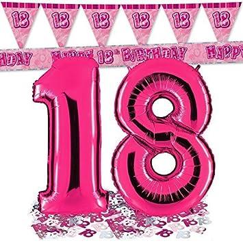 Ballon Zahl 18 In Pink Passende 18er Raumdeko Banner Und