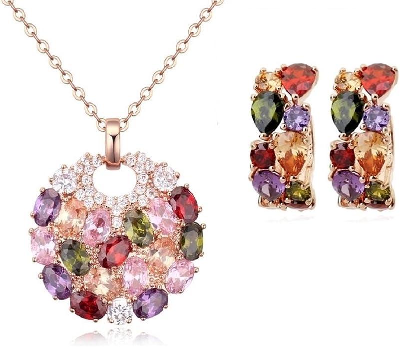 Ensemble collier et boucles doreille 18 carats plaqu/é or rose avec cristaux autrichiens multicouleurs en zircone