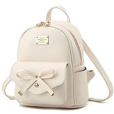 Amazon.com: Manka Vesa Girls Bowknot Cute Leather Backpack Mini ...
