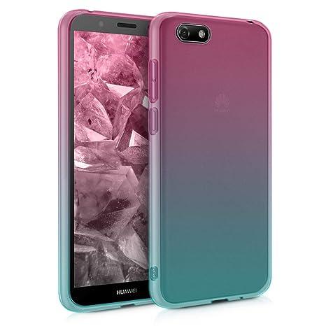 nuovo concetto bc964 e7e77 kwmobile Cover per Huawei Y5 / Y5 Prime (2018) - Custodia in TPU Silicone  per Cellulare Huawei Y5 / Y5 Prime (2018) - Fucsia/Blu/Trasparente