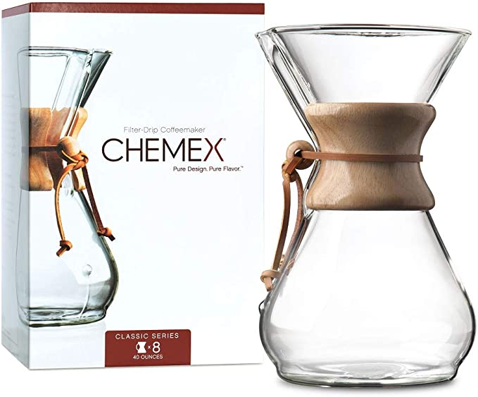 CHEMEX Pour-Over Glass Coffeemaker- 8-Cup