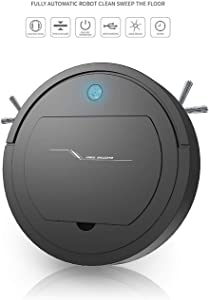 Automatic Smart Robot Vacuum Cleaner, Rechargeable Robotic Sweeper Edge Cleaning Strong Suction Sweeper (Black)