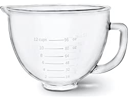 Glass Bowl 5 Quart for KitchenAid Stand Mixer,with Measurement Markings,Allows Placing it in the Microwave and Refrigerator