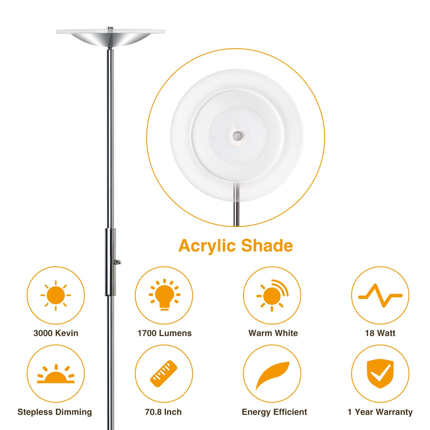 LED Torchiere Floor Lamp, Sunllipe Super Bright 18W Dimmable Uplight Adjustable Floor Lamp, Modern 70.5'' Tall Standing Pole Light, Compatible with Wall Switch for Reading, Office, Living Room, Bedroom by sunllipe (Image #4)