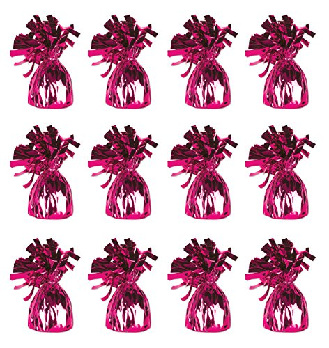 Beistle 50804-C Cerise Metallic Wrapped Balloon Weights, 12 Pieces In Package -