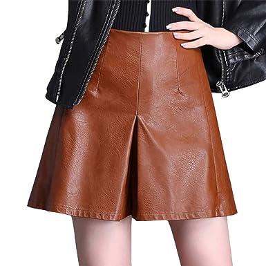 DISSA SK3353 - Falda de Piel sintética para Mujer marrón 34 ...