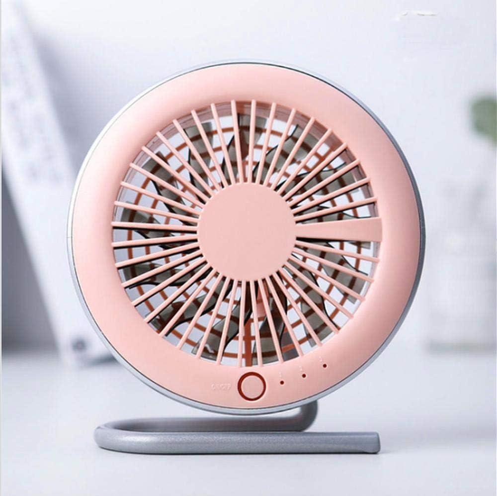 Mmyu USB Fan Mini Fan Round Desktop Charging Fan Suction 360 Degree Rotating USB Fan Office Mini Fan Pink