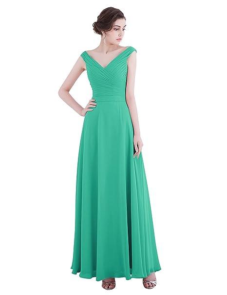 Dresstells reg;Vestido Largo Mujer Fiesta Boda Madrina Con Tirantes Escote En V Verde 38