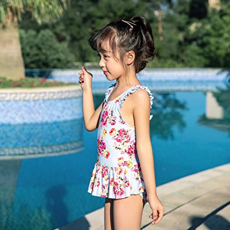 LLYY® Girls Swimsuit, Kids Swimming Printing Bow Playing on