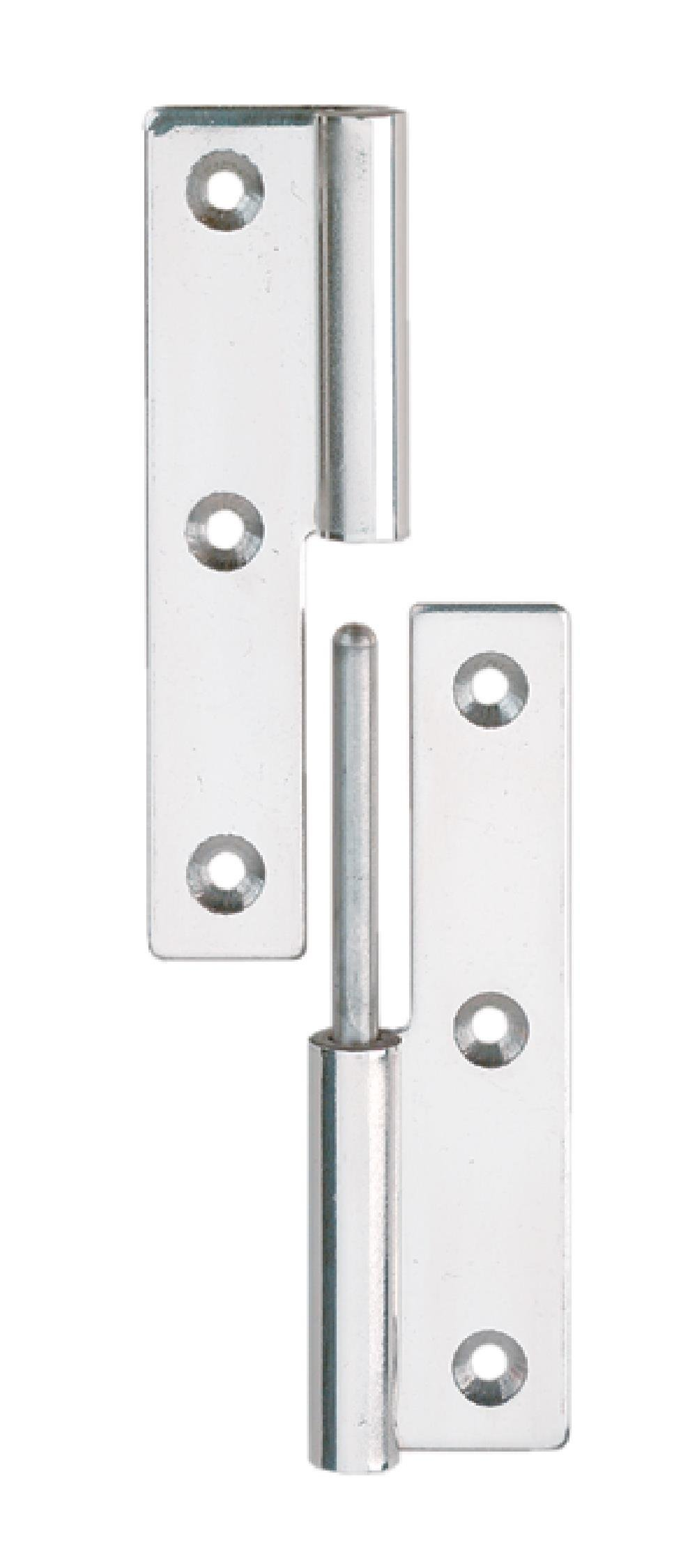 Sugatsune KN-75L/SS Lift Off Hinge, Stainless Steel 304, Polished Finish, Left Handedness, 2mm Leaf Thickness, 38mm Open Width, 8.5mm Pin Diameter for the Knuckle, 3.2mm Mounting Hole Diameter