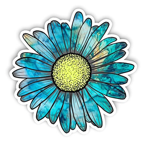 - Vinyl Junkie Graphics Daisy Flower Sticker for Car Truck Windows Laptop Any Smooth Surface Waterproof (Cyan Dream)